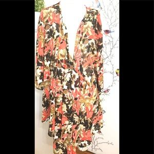Maggie Barnes Womens Orange Brown Town Floral